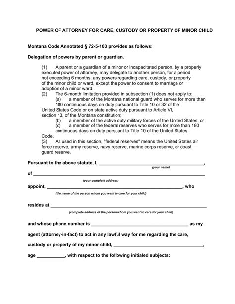 Free Montana Minor Child Power Of Attorney Form Pdf Word Eforms Free Fillable Forms Power Of Attorney For Child Template
