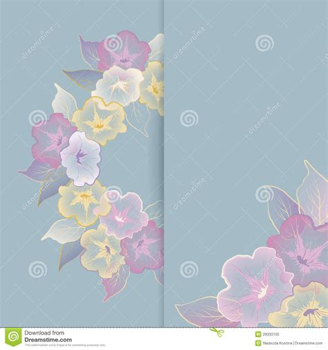 birthday card template floral floral template greeting card with pastel flowers stock