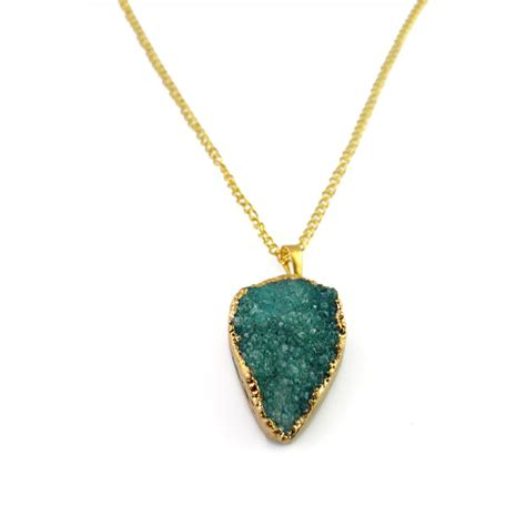 The Necklace Of Stones by Emerald Green Teardrop Druzy Pendant 18k Gold Plated