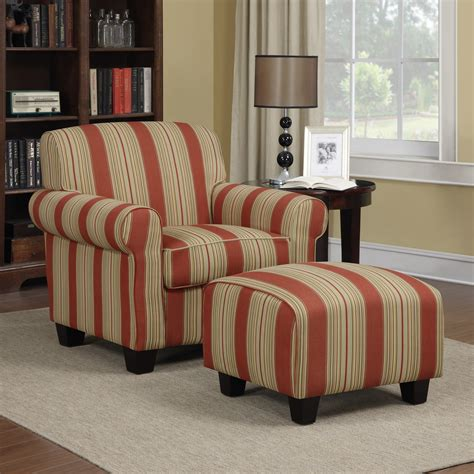 Brown Striped Armchair Furniture Yellow Leather Armchair With Ottoman