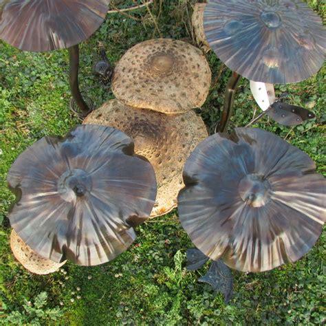 handcrafted metal butterfly toadstool mushroom garden