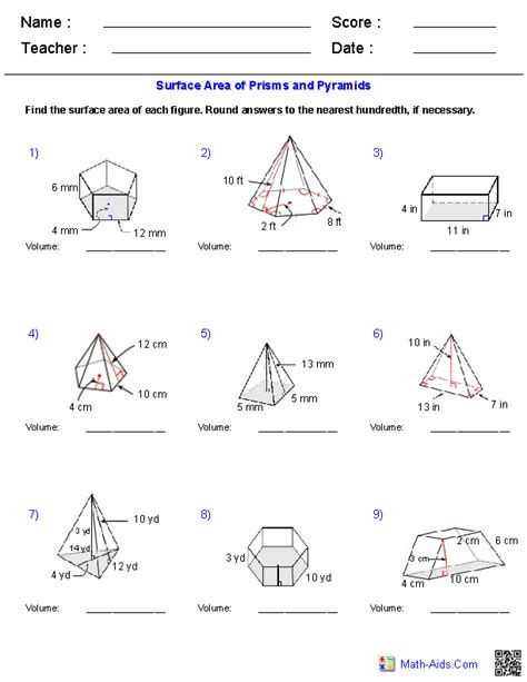 Surface Area And Volume Word Problems Worksheet Pdf