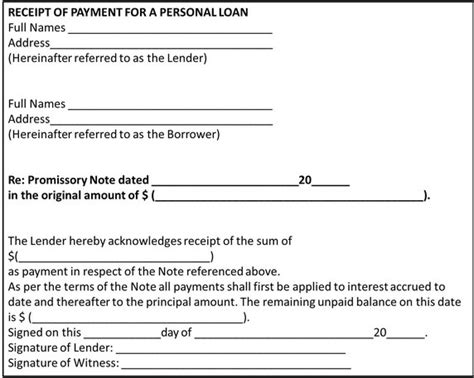 loan receipt agreement template what should a receipt of payment for a personal loan