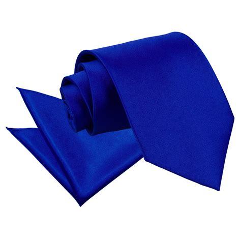 s plain royal blue satin tie 2 pc set