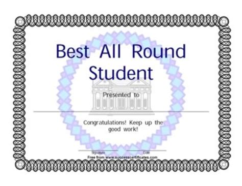 best wishes certificate best all round student award