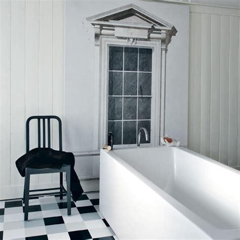 bathroom with window frame mural black and white