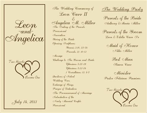 search results for free wedding program templates