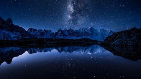 wallpaper stars mountains lake  space