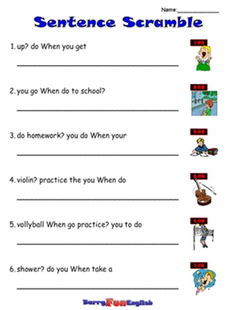 Scrambled Sentences Worksheets by Scrambled Sentences Worksheets Worksheets Tutsstar