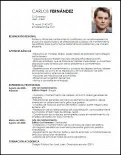 Modelo De Curriculum De Jardinero Modelo Curriculum Vitae Portero Y Oficial De Mantenimiento Livecareer