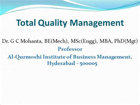 Mba Total Quality Management Pdf by Total Quality Management Tqm Authorstream