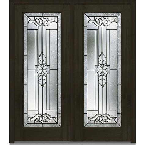 Decorative Door Glass Milliken Millwork 66 In X 81 75 In Cadence Decorative Glass Lite Mahogany Finished