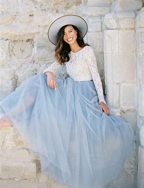 light blue tulle skirt pantone serenity inspiration bridal lookbook bridesmaid