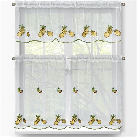 Kitchen Tier Curtains Sets Window Elements Pineapple Embroidered 3 Kitchen Curtain Tier And Valance Set Ymc001545