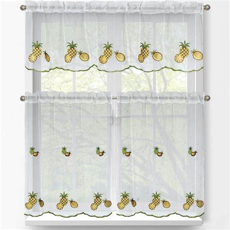 window elements pineapple embroidered 3 piece kitchen