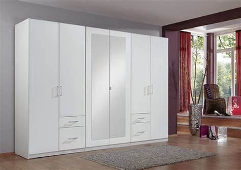 armoire portes coulissantes fly armoire 6 portes 4 tiroirs fly blanc