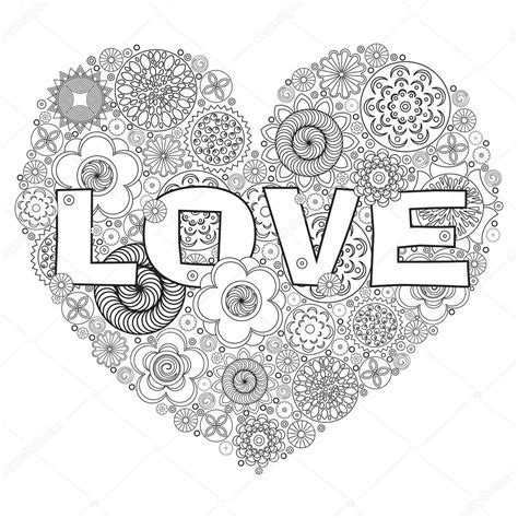 Heart Shape Pattern For Coloring Book Floral Imitation Of