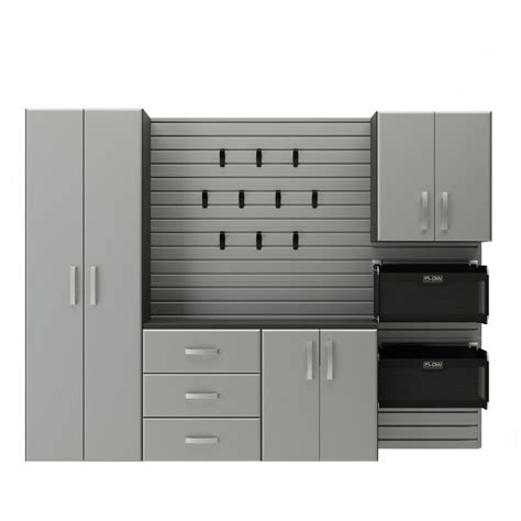 Flow Wall Modular Wall Mounted Garage Cabinet Storage Set With Garagestoragesystems Net Flow Wall Deluxe Modular Wall Mounted Garage Cabinet Storage Set With Accessories In Silver 17