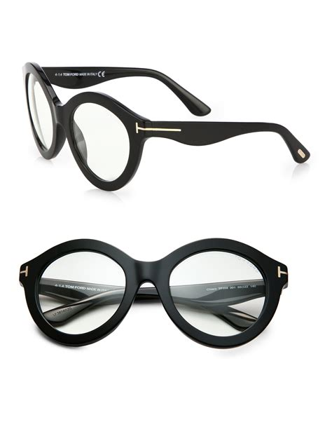 tom ford exaggerated 55mm optical glasses in black