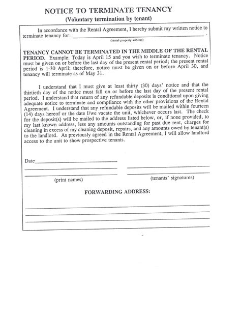 30 day notice to tenant template vista az real estate preference properties