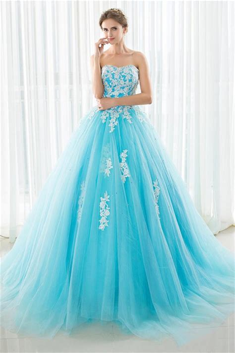 hochzeitskleid quiz fairy ball gown strapless turquoise tulle lace beaded prom