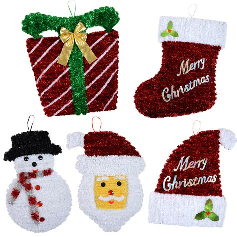 tinsel decoration value pack 5 large hanging plaques
