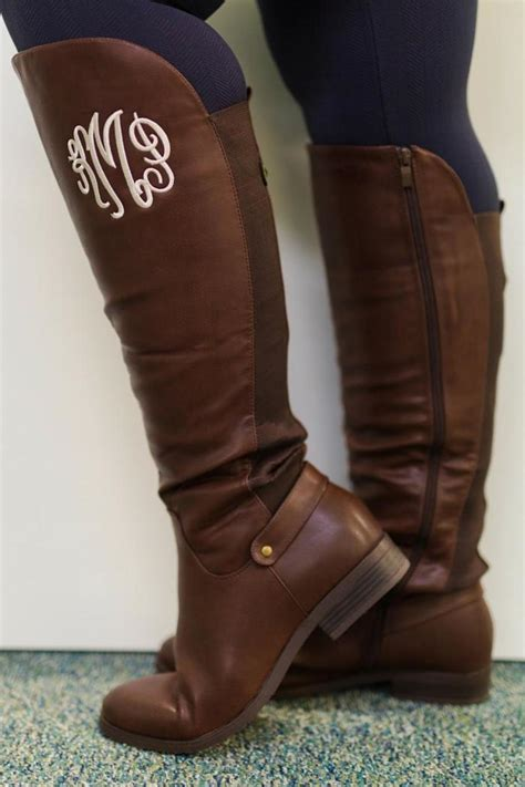 Shoo Bsy Brown monogrammed brown boots from richmond by trend shoptiques