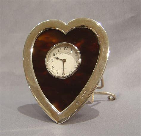 english silver and tortoiseshell heart shaped clock