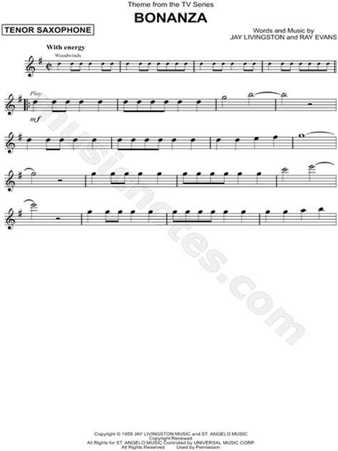 theme music bonanza quot theme from bonanza quot from bonanza sheet music tenor