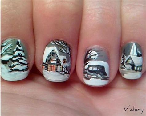 adorable winter inspired nail designs