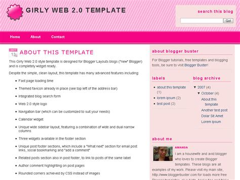 free girly templates for blogger girly web 2 0 blogger template eblog templates
