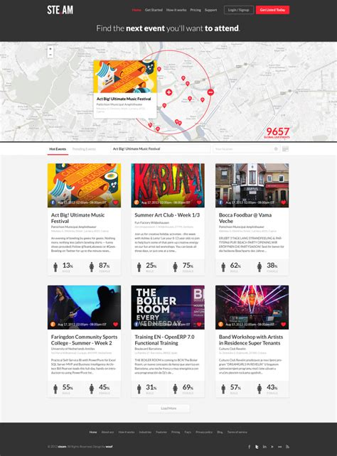event web page design events listing website design ui ux pinterest