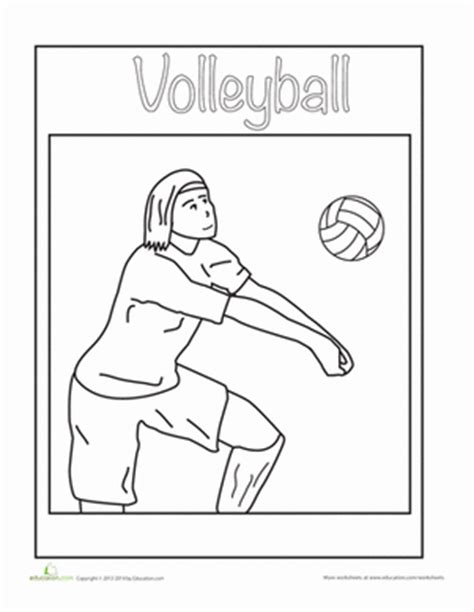 sports coloring pages for kindergarten volleyball coloring sheet volleyball worksheets and