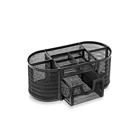 Black Mesh Desk Organizer Buy Mesh Oval Desk Organizer In Black From Bed Bath Beyond