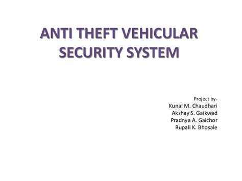 anti theft vehicular security system