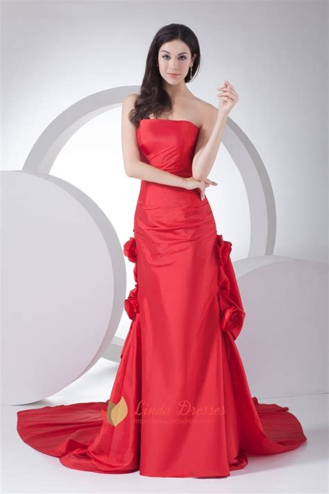 taffeta strapless mermaid red long evening dress  train  flower linda dress