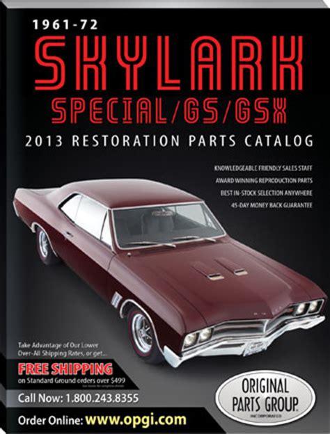 1972 buick skylark parts catalog free 1961 1972 special skylark gs gsx restoration