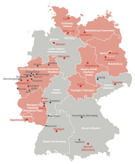 germany map states map of germany with cities