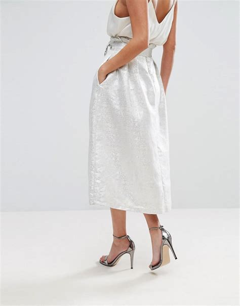 Kate Olsens Paperbag Waist Trousers From Asos by Lyst Closet Paper Bag Waist Metallic Jacquard Midi Skirt