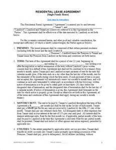Template Residential Lease Agreement by Free Lease Agreement Template For Word