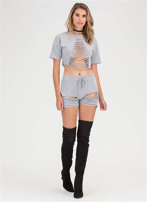 Set Topdenim Sm 10199 in a slash distressed top and shorts set rust mauve black hgrey gojane