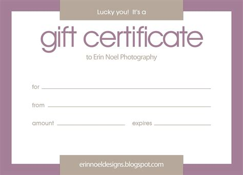 photoshoot gift certificate template erin noel designs gift certificates