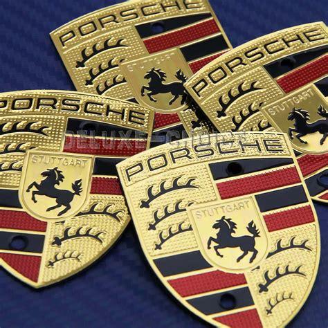 porsche wheel emblem shiny gold plate replacement emblem badge crest for