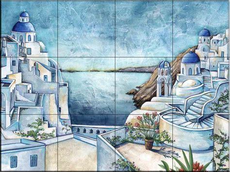 tile murals in small spaces mediterranean kitchen tile mural mediterranean landscape kitchen backsplash