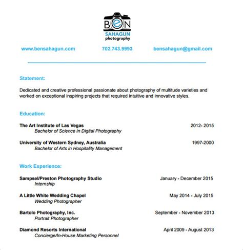 sle photographer resume template 19 download in pdf