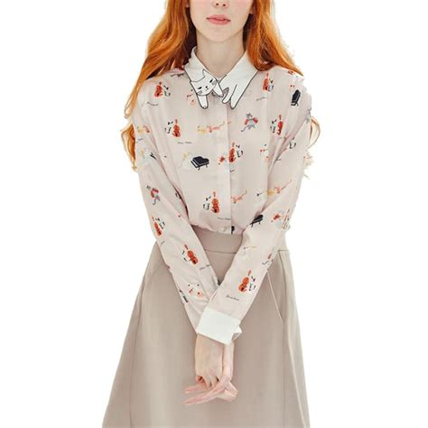 down blouses for 2013 video star travel international down blouses for 2016 women cute cat animal print office shirts turn down