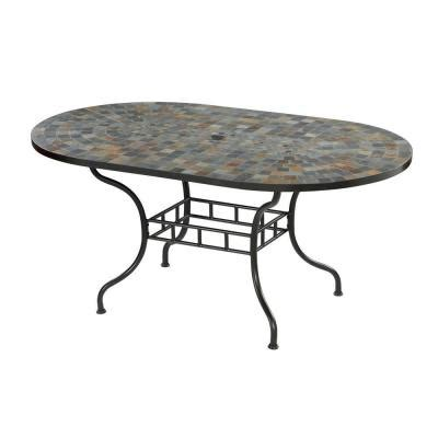 Tile Top Patio Tables Home Styles Harbor 65 In X 40 In Slate Tile Top Patio Dining Table 5601 33 The Home Depot