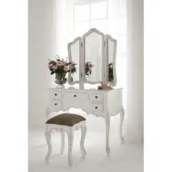 Furniture Vanity Table White Wooden Make Up Table And White Leather Upholstered Arm Chair With Cushion As