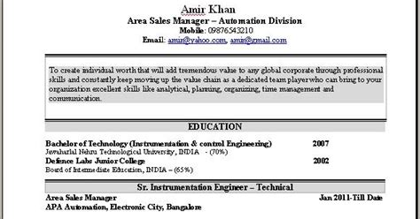 resume format for sales executive in india sales manager resume sle