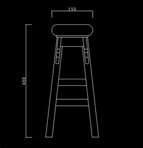 Stool Cad Block by Furniture Stools Left View 4 Free Autocad Blocks